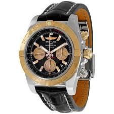 breitling chronomat 01 black leather strap chronograph men s watch cb011012 b968bkcd