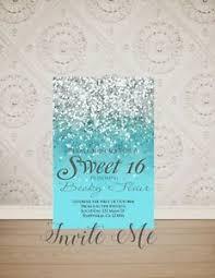 Invitation Quincenera Details About Sweet 16 Birthday Invitation Aqua And Silver Sweet 16 Quinceanera Invitation