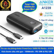 Pin sạc dự phòng siêu nhỏ gọn ANKER PowerCore 10000 PD Redux, 10000mAh PD  18W & PiQ 12W - A1239