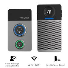 Wireless Doorbell Kit- Wireless Door Chime w/ Voice Message Function,  Stylish Wireless Chime
