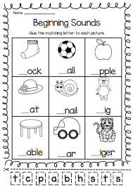 Printable phonics worksheets for kids. Beginning Sounds Printable Worksheet Pack Pre K Kindergarten First Grade Phonics Kindergarten Beginning Sounds Worksheets English Worksheets For Kids