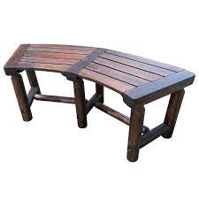 wood curved outdoor patio bench