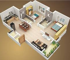 3d small house plans sq ft bedroom and terrace for modest double bedroom house plan design ideas