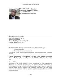 Ambassador Cv Cv Resume Jonathan M Egalal