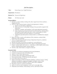 Warehouse Supervisor Job Description For Resume Warehouse Job Duties Resume Resume For Study 1