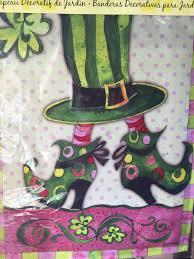evergreen silk reflections garden flag lady leprechaun boots inspiration of garden flags
