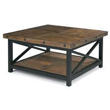 Superior Flexsteel Carpenter Square Cocktail Table With Metal Base And Wood Plank Top Photo