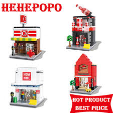 New Top Fashion 8 Years Old Unisex Assemblage DIY Store Building Mini Blocks Toy For Kids 3D Street View Serues Micro BrIck