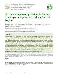 Pdf Waste Management Practices In Ghana Challenges And Prospect