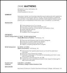 Fashion Intern Resume Best Resume Collection Cover Letter For