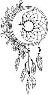 luna atños con plumas vinilo decal mandala etiqueta dreamcatcher plumas indígenas místico boho zen hippie etiqueta