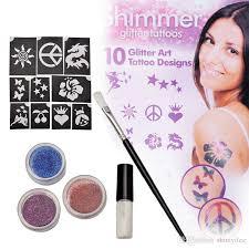 temporary professional glitter tattoo shimmer kit art sticker glitter face paint stencils henna with stencil glue za2786 temporary tattoo artist