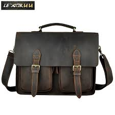 hard have cell phone pocket interior compartment dress fashion handmade original leather men designer business briefcase