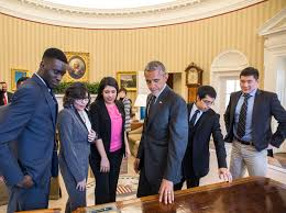 president oval office. President Barack Obama Shows The Resolute Desk To A Group Of DREAMers, Following Their Oval Office