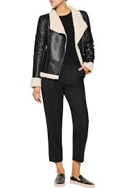 faux shearling lined leather biker jacket