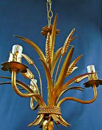 unknown producer vintage gold chandelier tole wheat sheaf gilt metal 5 light candlesticks