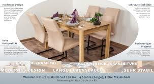 Wooden Nature Esstisch Set 278 Inkl 4 Stühle Beige Eiche