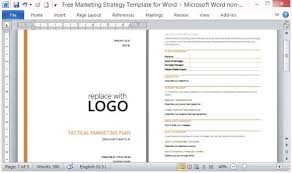 Marketing Plan Template Word Free Marketing Strategy Template for Word 2