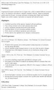 Airline Resume Samples Customer Service Agent Resume Customer Service Representative Resumes