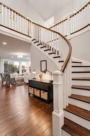 beautiful custom interior stairways. Primed 5060 Balusters, 6210 Bending Rail Bring And Custom Box Newels Lend Beautiful Lines To Interior Stairways R