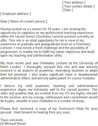lecturer cover letter sample speculative covering letter examples