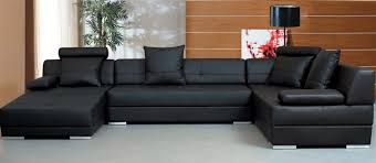 modern black sectional sofa set tos lf lher with leather couch decorations