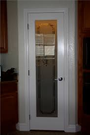 white stained wooden material door come with frosted glass door feature fl pattern also modern iron
