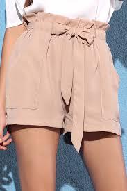 Pocket and Bowknot Design Chiffon Shorts Nude shorts