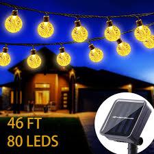 Solar Powered Globe Lights Wertioo Solar String Lights 46ft 80 Leds Outdoor Solar Power Globe Lights Waterproof Crystal Ball Lighting For Patio Lawn Garden Wedding Party