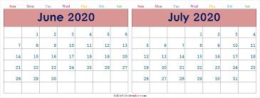 June July 2020 Calendar June July 2020 Calendar Colorful Printable Free Two Month