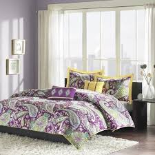 twin xl full queen bed purple yellow white paisley 5 pc comforter set bedding