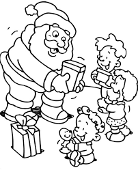 Small Picture Christmas Coloring Pages For Kids Santa Giving Some Gifts To Kids