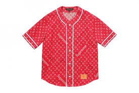 supreme x louis vuitton collaboration 6 short sleevet red shirt with lv monogram
