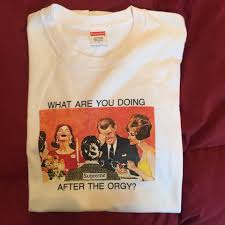 How You Doing Shirt Supreme Orgy Tee What Are You Doing After The Orgy Box Logo Depop
