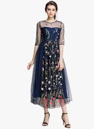 Jc Collection Navy Blue Coloured Self Design Maxi Dress
