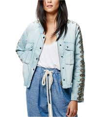 Free People Skirt Size Chart Free People Womens Embroidered Sleeve Denim Jacket