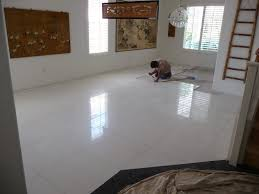 White Tile Floor And THB Construction Updating Old Floor Tile With
