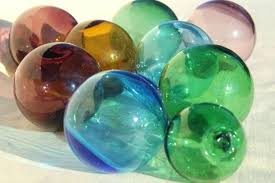 glass vintage glass fishing net floats hand blown glass blue green amber amethyst colored glass