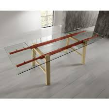 extendable dining table glass top solid wood legs alma