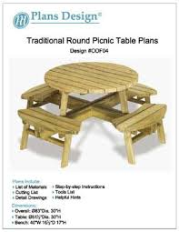 diy round outdoor table. Traditional Round Picnic Table / Benches Woodworking Plans, #ODF04 Diy Round Outdoor Table