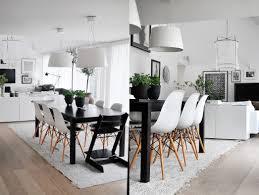 black white dining rooms work their monochrome magic room wooden legs potted plants modern and area