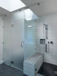 bathroom glass shower door seal brown ceramic like wood wall tiled chrome finished solid brass paneling