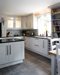 white shaker kitchen cabinets grey floor. White Shaker Kitchen Cabinets Grey Floor Houzz