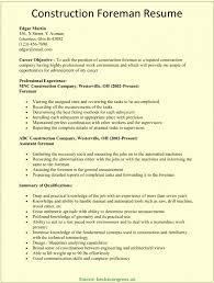 Good Construction Supervisor Resume Format Construction Supervisor