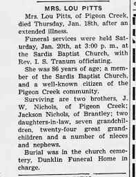 Lucinda Abigail Nichols Pitts Obituary - Newspapers.com