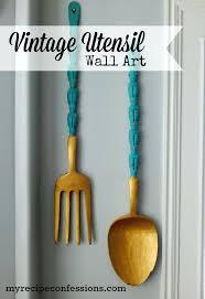 kitchen wall art wooden fork