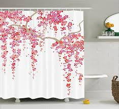 trees branch springtime happy vacation traveling destinations image polyester fabric bathroom shower curtain 84 inches extra long lilac salmon c