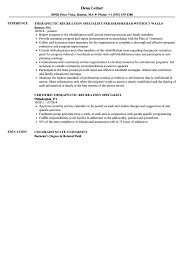 Therapeutic Recreation Specialist Resume Samples Velvet Jobs