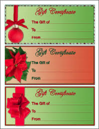 christmas gift card templates christmas gift certificate template