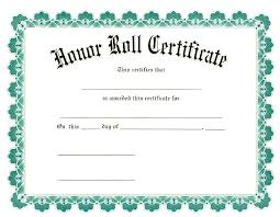 Certificate Of Honor Template Honor Roll Certificates Template